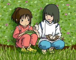 Chihiro and Haku by little-ampharos
