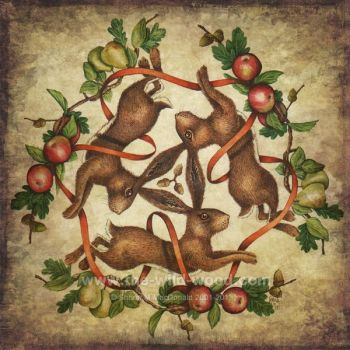 3 Hares autumnal equinox by WildWoodArtsCo