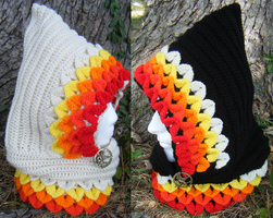 'Girl on Fire' inspired Dragon Scale Hoods by Arexandria
