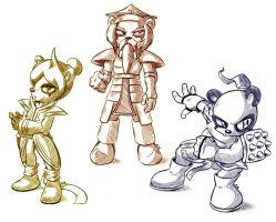 Dail, King and Gong - Sketches by R-No71 by SpacemanStrife
