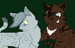 Ashfur and Hawkfrost by RockyTheRedWolf