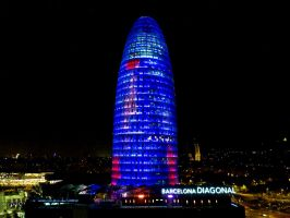 Torre Agbar at Night by MisterKrababbel
