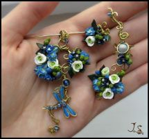 Spring dragonfly set by JSjewelry