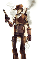 TF2: 1800s Steampunk bot scout by DarkLitria