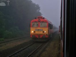 M41 2310 with fast train in fog in Vinar by morpheus880223