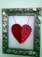 Framed Stained Glass Heart by PandoraX