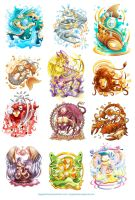 Twelve Zodiacs by anggatantama