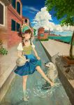 Kanban-musume and dog playing in the water by Lio-garakuta