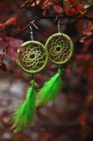 Minstrel. Dreamcathcer-earrings. by hidokei-yuta