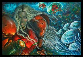 Oil paint inspired by Samus Aran (Metroid) by Daelyth