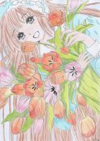 Kobato with tulips by Cat-Lightning