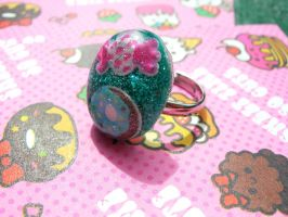 Candy glitter resin ring by Daisy--Chains