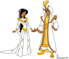 Jasmine and Aladdin Colour by chainedname