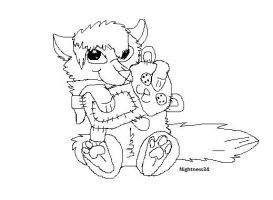 Free chibi wolf lineart by CanineCriminal