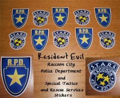 S.T.A.R.S. and RPD stickers by ElectrikPinkPirate