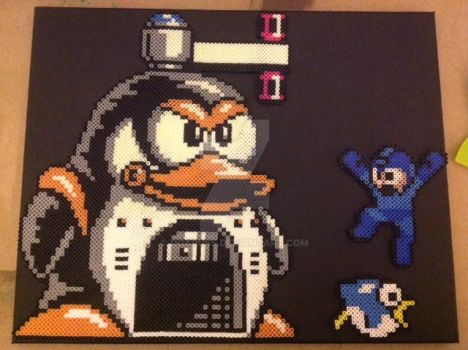 Old Mega Man Perlers On Canvas by DOAruss