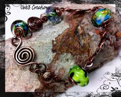 Green Lampwork Beads with Swirls Bracelet by kelleejm1