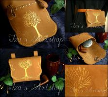 Golden Tree of Valinor leather belt bag by izasartshop