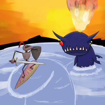 Knight Fighting a Demon Whale by crocty