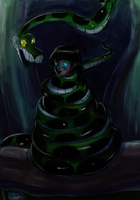 Akimo and Kaa in the Moonlight by jdashe