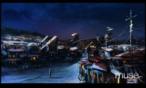 Ramshackle Settlement at Twilight by musegames
