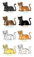 Warrior Cat Adoptables by BrizzAdoptsXX