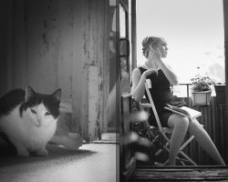 she and her cat by kefirux