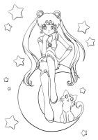 Sailor Moon lineart by Cheila