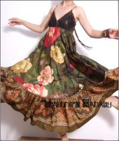 Floral Empired Maxi Dress Gown by yystudio