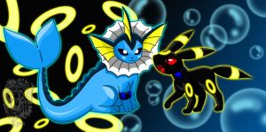 Zee, my Vaporeon and Ro, my Umbreon by DrChillRoach