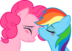 Rainbow Dash and Pinkie: sweet kiss by KennyKlent
