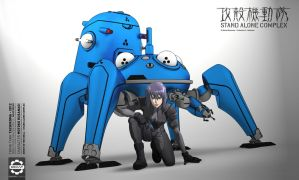 G.I.T.S Tachikoma and Motoko - TOON STYLE 3D - by Secap