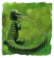 Green Gharial by hibbary