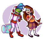 Art Trade - A girl and an alien by AnastasiaAiry