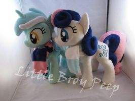 Lyra And Bonbon plushies by Little-Broy-Peep