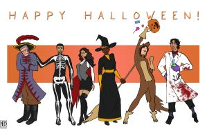 Happy Halloween from Mavia + the Gang by DeeDraws