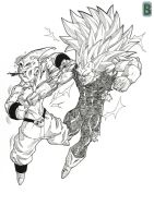 Vegeta Vs Kid Buu by bloodsplach