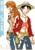 one piece-luffy x nami 2 by noodlemie