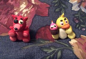 Chica and Foxy Plushie Figurines by WolfPrincess94