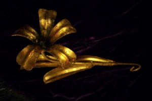 Single Gold flower by paintresseye