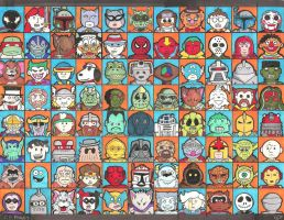 88 faces from the geek world by crpechonick