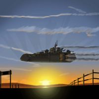 sunset skyship by SkyShipColonel