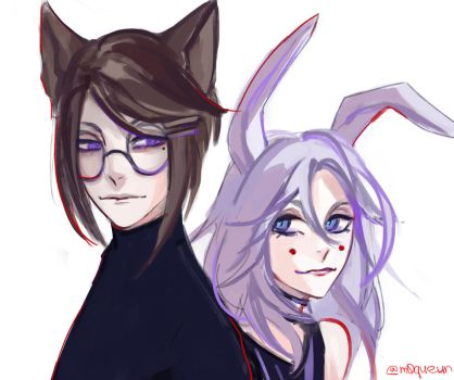 Fox and Bunny by m0queur