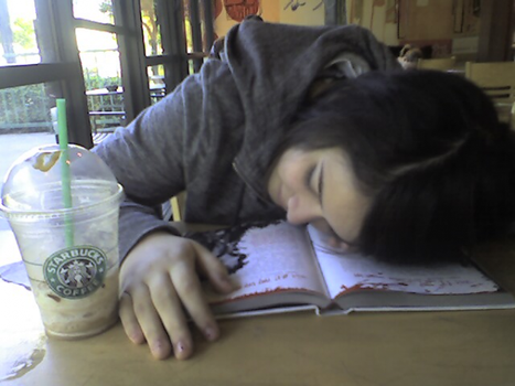 asleep in starbucks by angieeluhh