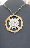 Steampunk Gear Necklace by Comical1