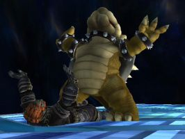Bowser Crushes the Evil King by shinco
