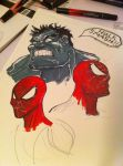 Hulk and Spider-Man marker practice by bamf27art