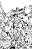TF Spotlight Megatron RI cover lineart by markerguru