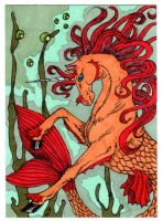 Atc Aceo Autumn Sea Unicorn by DRAGON-STARR