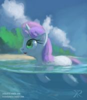 Sweetie Belle on the beach by Raikoh-illust